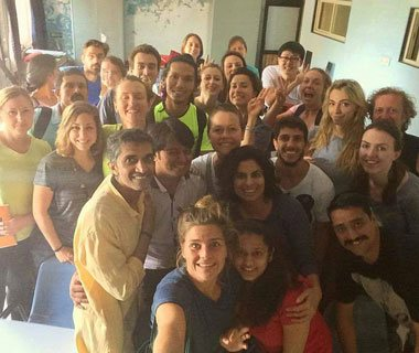 TTC students at Yoga Vidya Dham with Yogic Guru-Gandhar Mandlik