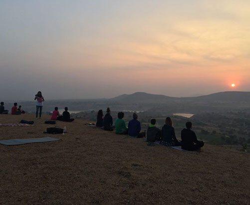 TTC Students Enjoying Sunset at YogaPoint-Yoga Vidya Dham