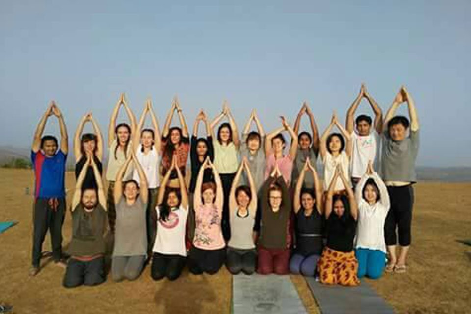 Yoga Students Enjoying Mountain Yoga at YogaPoint-Yoga Vidya Dham during Yoga Teacher Training Program
