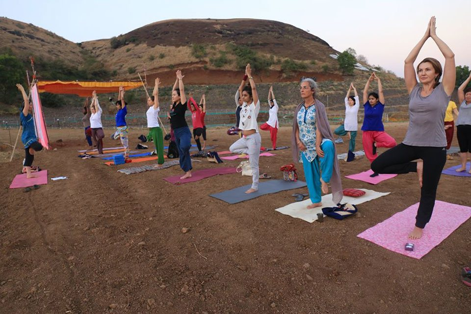 Yoga Students Preactising Natural Yoga at YogaPoint-Yoga Vidya Dham during Yoga Teacher Training Program